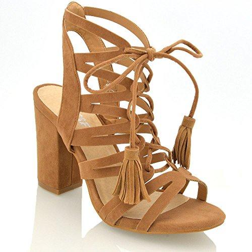 ESSEX GLAM Gamuza Sintética Zapatos de fiesta con tacón cuadrado y parte  trasera abierta con tiras 1473e6866d21