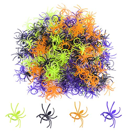 Tanlee 300 Pieces Halloween Plastic Spider Ring Stretch Spider Web Decor Table Scatter Cupcake Topper for Halloween and Spider Themed Party supplies]()