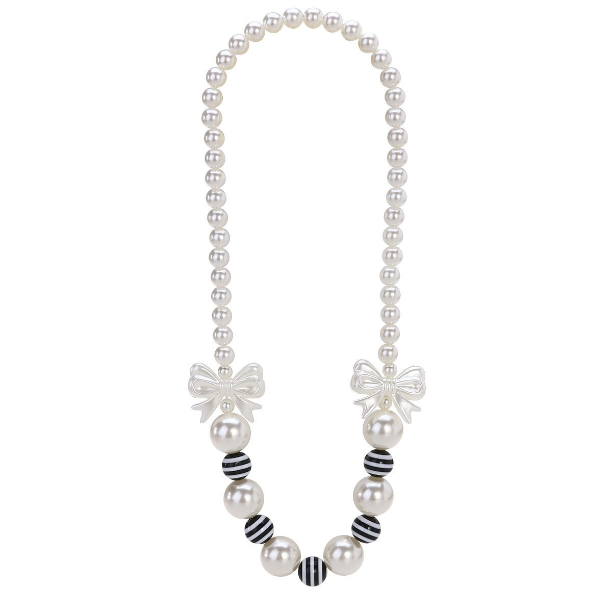 Kaever Girls Pearls Necklace Bowknot Faux Pearl Necklace for Kids Jewelry Gifts