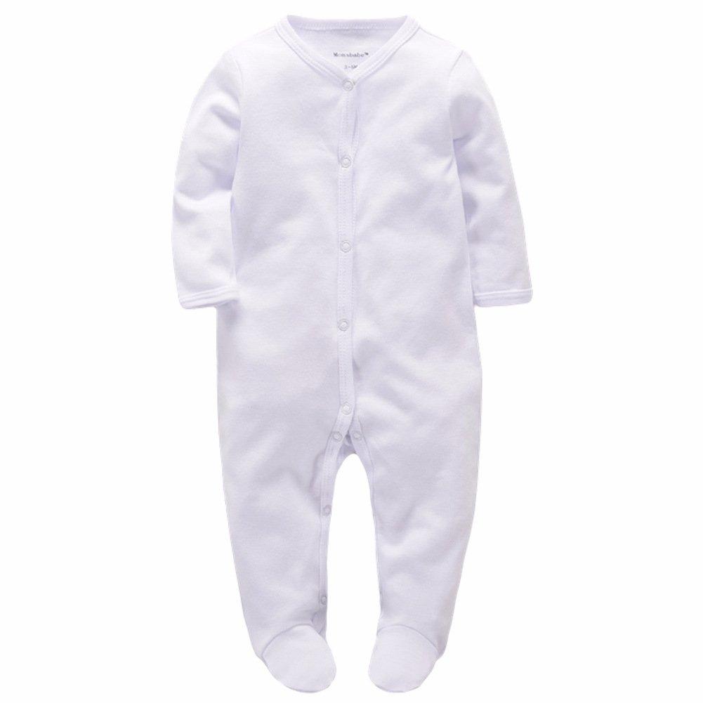 Momsbabe Baby Romper Pyjamas Long Sleeve Unisex Footie Sleepwear Newborn Bodysuit White Vest Cotton Bodysuit