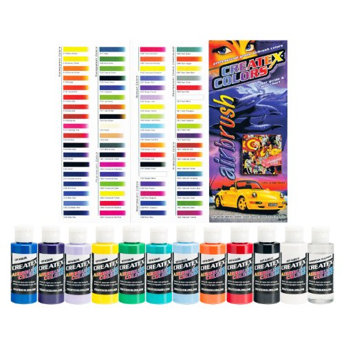 Createx Colors Ready to Use Airbrush Paint Set of ALL 11 Opaque Colors Plus Free ()