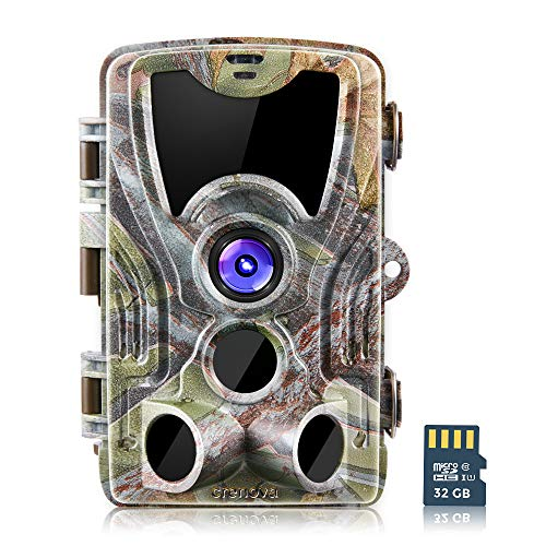 Crenova 16MP 1080P HD Trail Camera with 32GB Micro Card Included Max up to 64GB Updated to 940nm IR LEDs and IP66 Waterproof Game Camera,Motion Activated Night Vision Perfect for ()