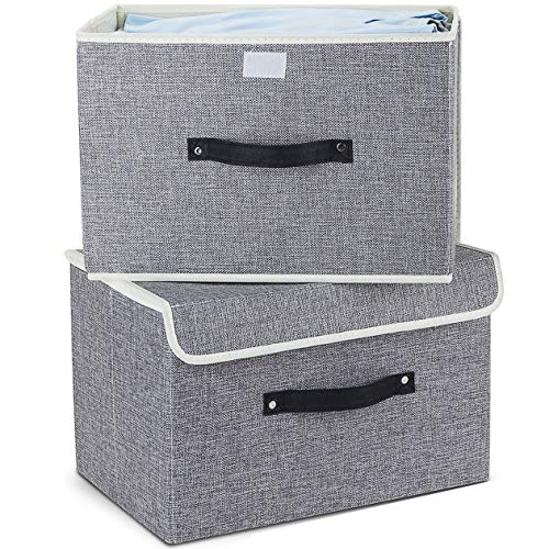 Storage Bins Set,Storage Baskets Pack of 2 Foldable Storage Boxes Cubes with Lids, Fabric Storage Bin Organizer Collapsible Box Containers for Nursery,Closet,Bedroom,Home(Light Gray)