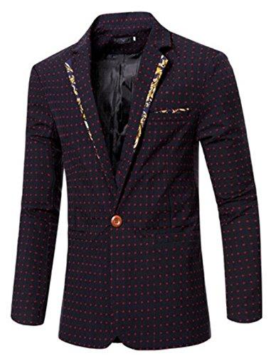 Nanquan Men Plus Size Vintage 2 Buttons Corduroy Suit Blazer Jackets with Elbow Patch Red US XL