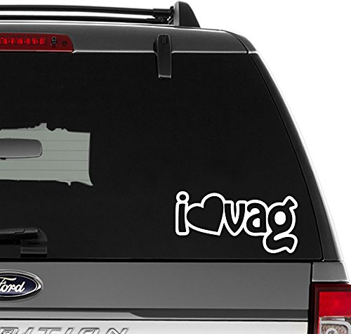 Euro I Love VAG Volkswagen Vinyl Decal Sticker For Wall Decor, Windows, Laptop, Car, Truck, Motorcycle, Vehicles (Size-8 inch/20 cm Wide) - (Matte BLACK Color) (Vag Vehicle)