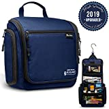 Hanging Toiletry Bag for Women and Men - Deluxe Large Travel Toiletry Organizer - Waterproof Hygiene Bag with Metal Swivel Hook and 9 Compartments for Travel Toiletries, Makeup, Cosmetics (Navy Blue)