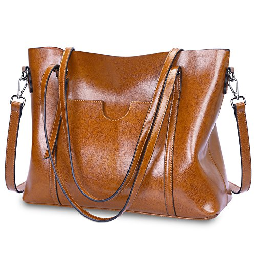 S-ZONE Women Genuine Leather Top Handle Satchel Daily Work Tote Shoulder Bag Large Capacity (Brown)