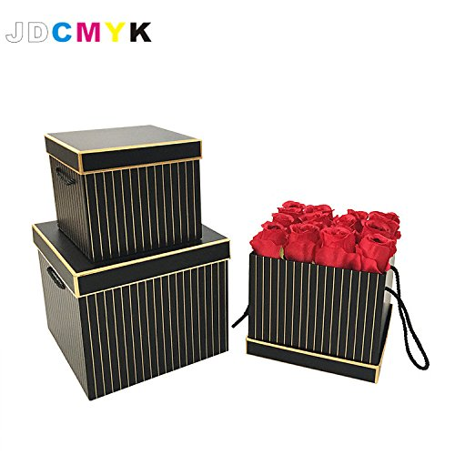 JDCMYK 3pcs/Set Rectangle Shape Florist Packing Flowers Gift Box,Gold line Wedding Decoration Party Favors coffret Gift Boxes (Black)