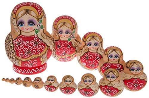 Moonmo 15pcs Beautiful Red Flower Handmade Wooden Russia Nesting Dolls Gift Russian Nesting Wishing Dolls Matryoshka Traditional