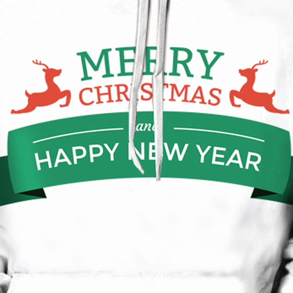 NRUTUP Clearance Christmas Top Mens Casual Sweatershirt Fashion 3D Christmas Letter Print Hooded Sweater