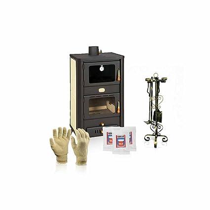 Caldera de leña estufas con horno Prity, Modelo FG W18 R, salida de calor