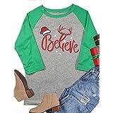 Women 3/4 Sleeve Christmas Believe Santa Hat Printed Raglan Baseball T-Shirt Tops Size S (Green)