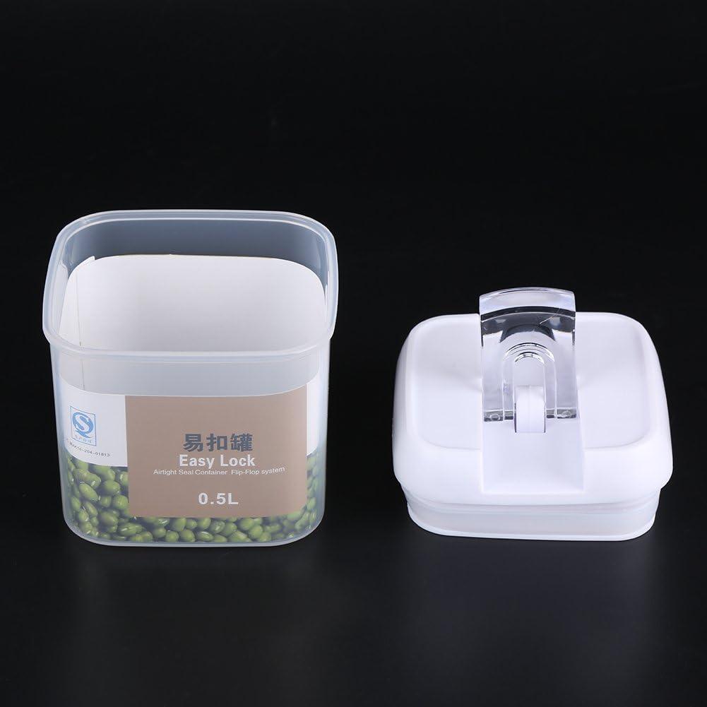 0.5L Contenedor de Almacenamiento Herm/ético de Alimentos Tuercas de Grano Caja de Cereal con Tapas Pl/ástico Duradero Alimentos Frescos y Secos Accesorios de Cocina Para Hogar
