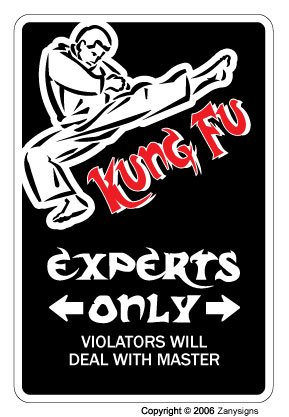 Kung Fu Sign | Indoor/Outdoor | Funny Home Décor for Garages, Living Rooms, Bedroom, Offices | SignMission Parking Martial Arts Black Belt Gift Fighter Student Instructor Sign Wall Plaque Decoration