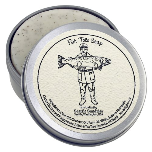 Fish Tale Soap-100% Natural & Hand Made. Scented with Essential Oils. Handy Travel Gift Tin. Great For Outdoors Fishing Lovers.