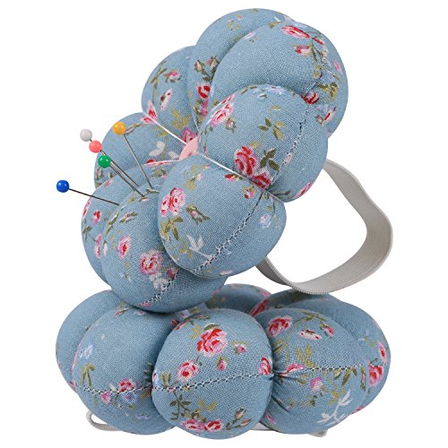 Neoviva Fabric Coated Pumpkin Shaped Wrist Wearable Pin Cushion for Needlework, Floral Blue - Ring Daisy Stretch
