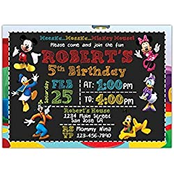 "Custom Mickey Mouse Birthday Party Invitations for Kids, 10pc-60pc 4""x6"" or 5""x7"" Birthday Cards with White Envelopes, Printed on Premium 265gsm Card Stock in Matte or Glossy Finish"