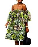 Vska Womens Batik African Print Shoulder Off Big Pendulum Evening Dress 9 3XL