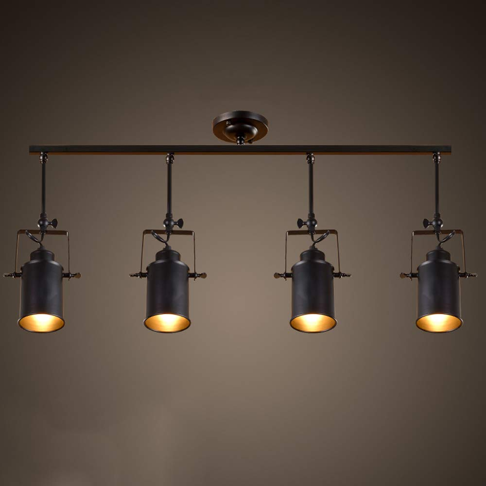 Industrial Vintage Long Pole Spotlight E27 Ceiling Lamp Clothing Store Track Lamp American Retro Living Room Background Wall Mounted Cob Rail Light (Size : 4-Lights)