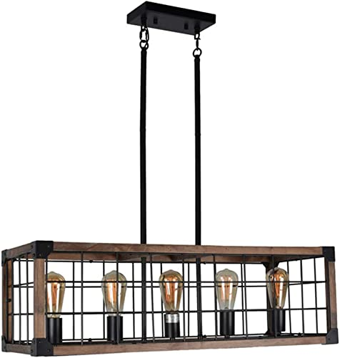 Beuhouz Wood Rectangle Rustic Dining Room Chandelier