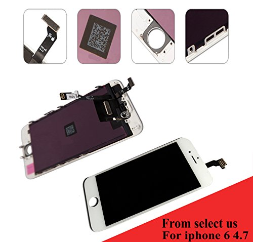 For Iphone 6 (4.7 inch) (A1549, A1586, A1589) screen replacement LCD screen digitizer Assembly Touch screen front glass white