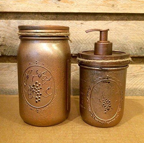 Hammered-Copper-Mason-Jar-Bathroom-Set-Rustic-4-Piece-Mason-Jar-Bath-Set