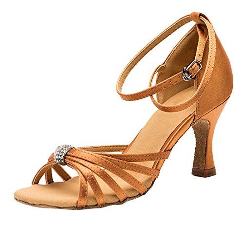 Tda Kvinna Peep Toe Väva Stil Kristall Båge Satin Salsa Tango Samba Modern Latinska Dansskor 7.5cm Brun