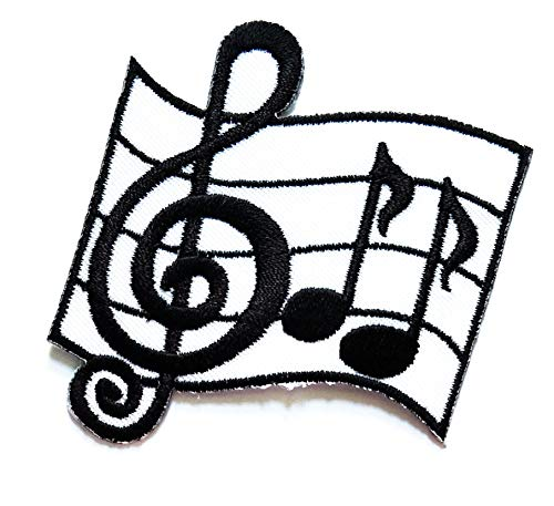 Nipitshop Patches Artist Design Musical Notes G Clef Eighth Music Scale Classical Cartoon Kids Patch Embroidered Iron On Patch for Clothes Backpacks T-Shirt Jeans Skirt Vests Scarf Hat Bag