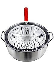 CHARD FBA12 Aluminum Stock Pot with Strainer Basket, 10.5 Quart