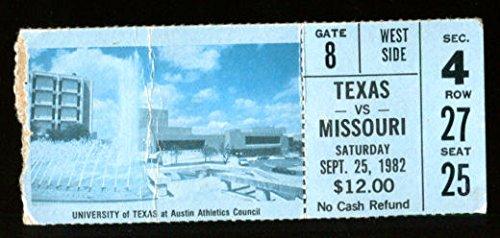 1982 Texas Longhorns v Missouri Tigers Football Ticket (Tigers Football Tickets)