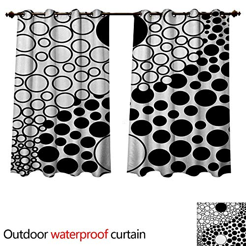 WilliamsDecor Ying Yang Home Patio Outdoor Curtain Abstract Yin Yang Design Stylized with Large Retro Dots Counter Forces of Globe W72 x L72(183cm x 183cm) ()