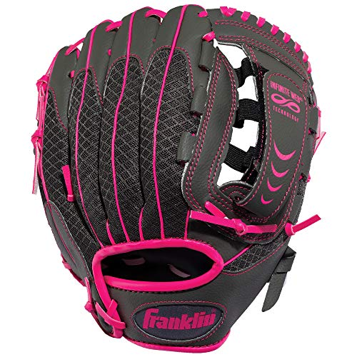 Franklin Sports Teeball Infinite Web/Shok-Sorb Combo Series Fielding Left Hand Glove, 10.5-Inch, Graphite/Pink
