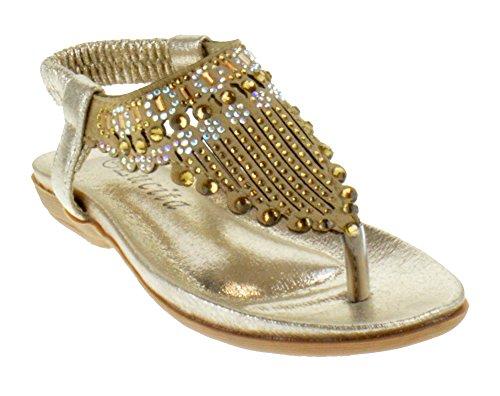 Lucita Crab 1811KM Little Girls Rhinestone Comfort Thong Sandals Beige 13 (Beige Kids Sandals)