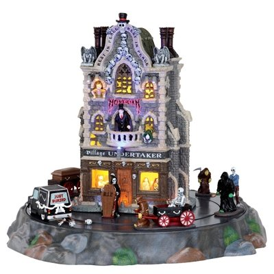 Lemax Spooky Town Village Undertaker Set of 9 with Adaptor # (Halloween Village Sets)