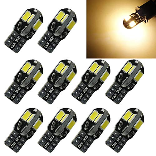 (Topsame 10pcs T10 194 W5W 5730 8SMD LED Canbus Car Side Wedge Light Bulb Warm White Lamp Auto Replacement Turn Signal Side Marker Lights)