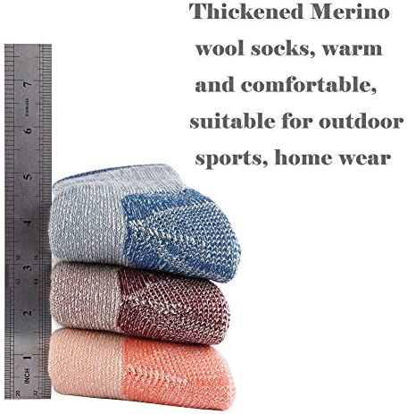 70% Merino Wool Women Crew Socks - Hiking Outdoor Athletic Thermal Thickening Cushion