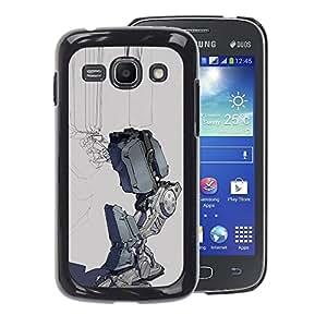 A-type Arte & diseño plástico duro Fundas Cover Cubre Hard Case Cover para Samsung Galaxy Ace 3 (Sad Robot Depression Grey Futuristic)