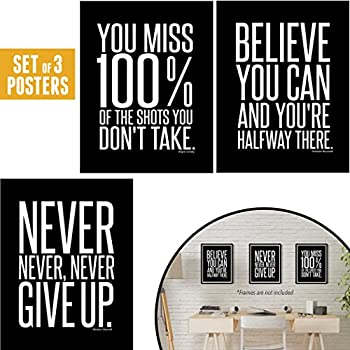 Motivational Inspirational Famous Quotes Teen Boy Girl Sports Wall Art  Posters Decorative (8 x 10