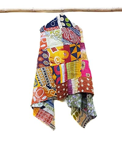 Cotton Kantha Scarf Vintage Neck Wrap Stole Dupatta Hand Quilted Women Gypsy patchwork