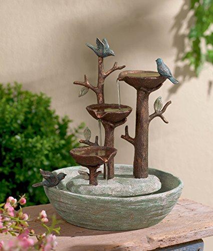 "Grasslands Road Bird Nest Cement Fountain, 12""/Medium, Multicolor"