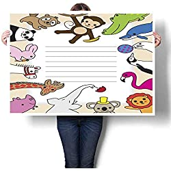 "Living Room Home Office Decorations Cute Animals Note Template Decorative Fine Art Canvas Print Poster K 32"" x L 24"""
