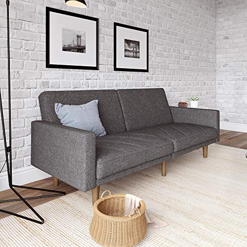 - DHP Paxson Convertible Futon Couch Bed with Linen Upholstery and Wood Legs - Grey