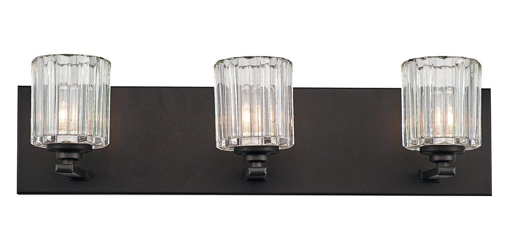 "Contemporary and Unique 3-Light Oil Rubbed Bronze Bathroom Wall Light by Haysoms - Modern and unique damp rated bathroom wall light fixture in an oil rubbed bronze finish with three clear ribbed glass shades. Dimensions: Height - 6"", Length - 22"", Depth - 6"". Requires 3 x maximum 40watt E12 bulbs (LED and low energy bulbs may be used if desired). - bathroom-lights, bathroom-fixtures-hardware, bathroom - 51f6YJl0JXL -"