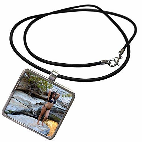 3dRose Henrik Lehnerer Designs Person - Young Hispanic woman with bikini near a creek - vacation, female, girl, sexy, exotic, latina, erotic - Necklace With Rectangle Pendant (ncl_158258_1)