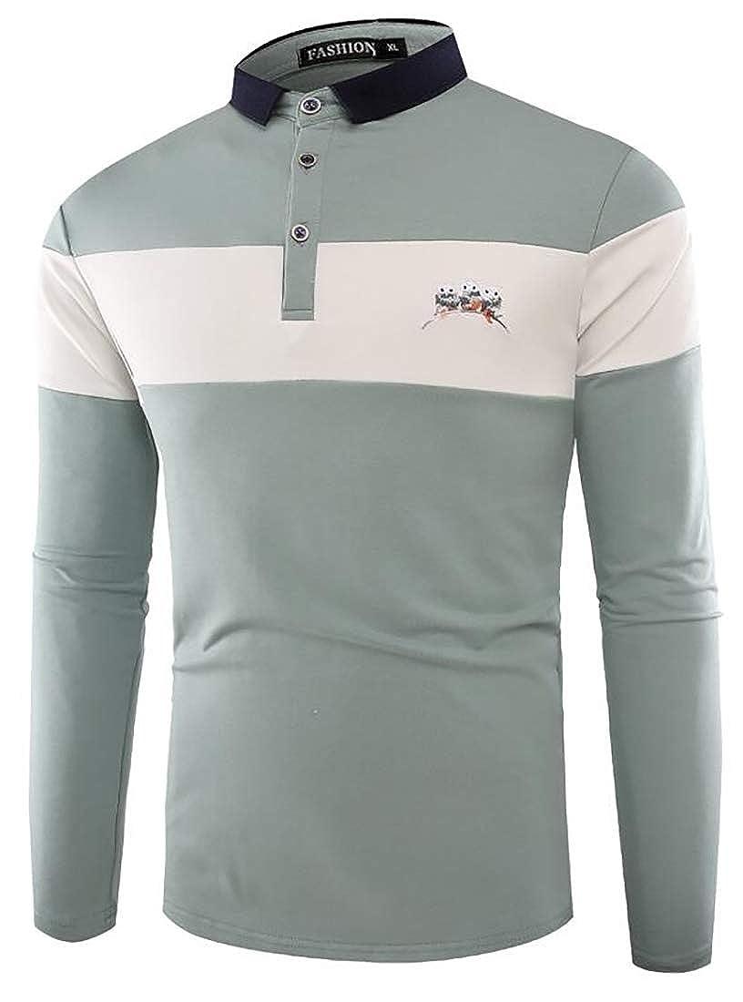 Jmwss QD Mens Short Sleeve Lapel T-Shirt Slim Casual Color Block Polo Shirt