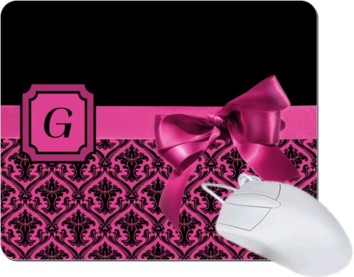 """Rikki KnightTM Letter """"G"""" Pink Monogram Damask Bow TanPad Ultra Thin Mouse Pad Ideal for all Laptops, Notebooks, Macbook Air, Macbook Pro"""