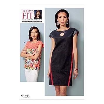 Vogue Damen Schnittmuster 1530 Kleid & Top mit passenabtrennung ...