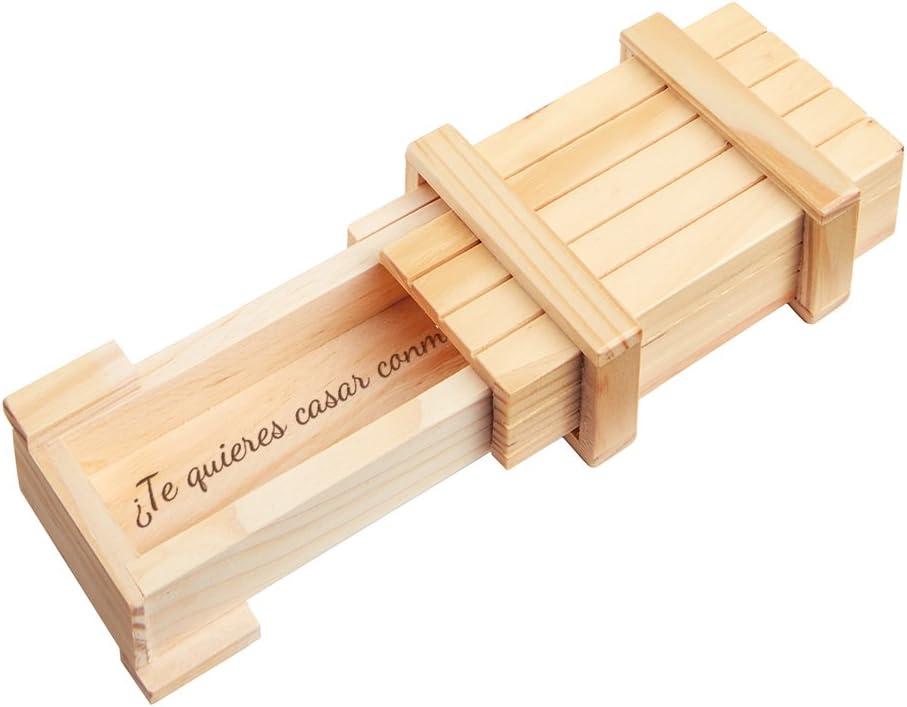 """Casa Vivente – Caja Mágica de Madera Clara – """"¿Quieres casarte conmigo?"""" – Envoltorio para Anillo de Pedida de Mano – Rompecabezas – Regalos para Novios – Regalos para Hombres y Mujeres"""