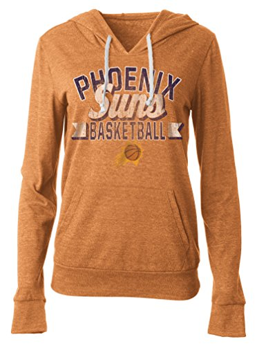 NBA Phoenix Suns Women's Tri Blend Jersey Pullover Hoodie with Pouch Pocket, Large, Tri Natural Orange -