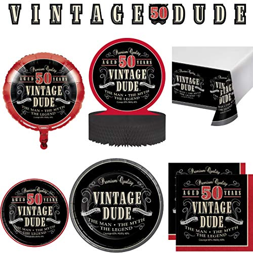 Vintage Dude 50th Birthday Party Supplies, Serves 24